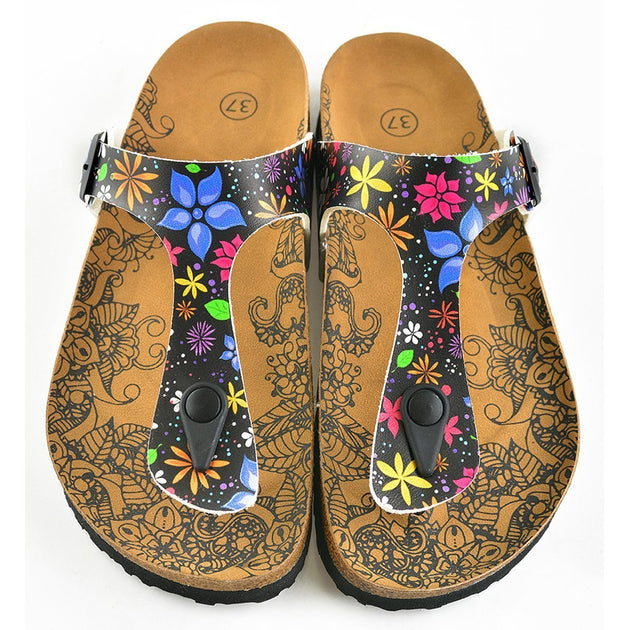 CALCEO Black Colored and White Bright, Colored Flowers Patterned Sandal - CAL512 Women Sandal Shoes - Goby Shoes UK