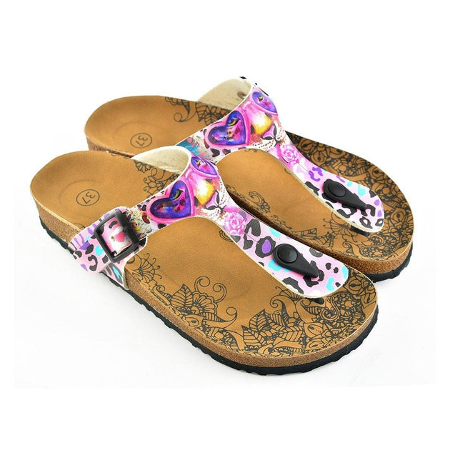 CALCEO Pink and Purple Colored Leopard Patterned Sandal - CAL513 Sandal Shoes - Goby Shoes UK