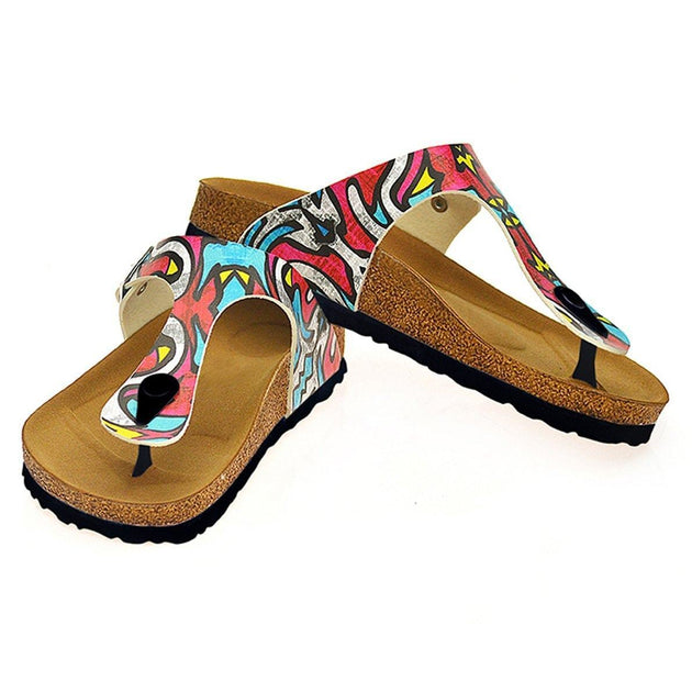 CALCEO Red, Blue, Yellow Geometric Patterned Sandal - CAL515 Sandal Shoes - Goby Shoes UK