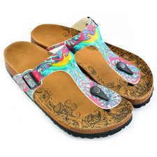 CALCEO Dark Pink Colored, Green Leavs, Blue and Yellow Parrots, Patterned Sandal - CAL518 Women Sandal Shoes - Goby Shoes UK