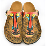 CALCEO Colored Feathered, Patterned and Yellow-Eyed Chimp, Patterned Sandal - CAL519 Women Sandal Shoes - Goby Shoes UK