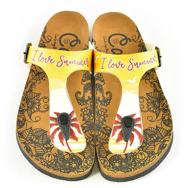 Yellow, Cream Colored Beach and Brown Tropical Leaved and I Love You Summer Written Patterned Sandal - CAL520