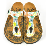 White Colored, Green, Orange, Red Patterned, Blue Sea Stared, Hello, Patterned Sandal - CAL521