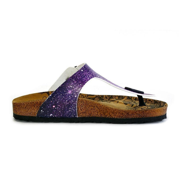CALCEO Purple, Blue, Pink Colored Space Star Bright, Patterned Sandal - CAL525 Sandal Shoes - Goby Shoes UK