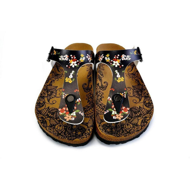 CALCEO Black and Colored Flowers Patterned Sandal - CAL526 Women Sandal Shoes - Goby Shoes UK