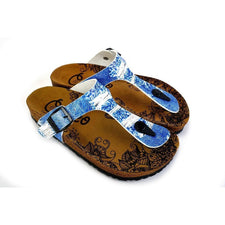 CALCEO Blue Jeans Patterned Sandal - CAL527 Women Sandal Shoes - Goby Shoes UK