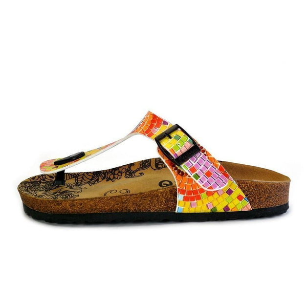CALCEO Blue, Yellow, Orange Geometric Patterned Sandal - CAL528 Women Sandal Shoes - Goby Shoes UK