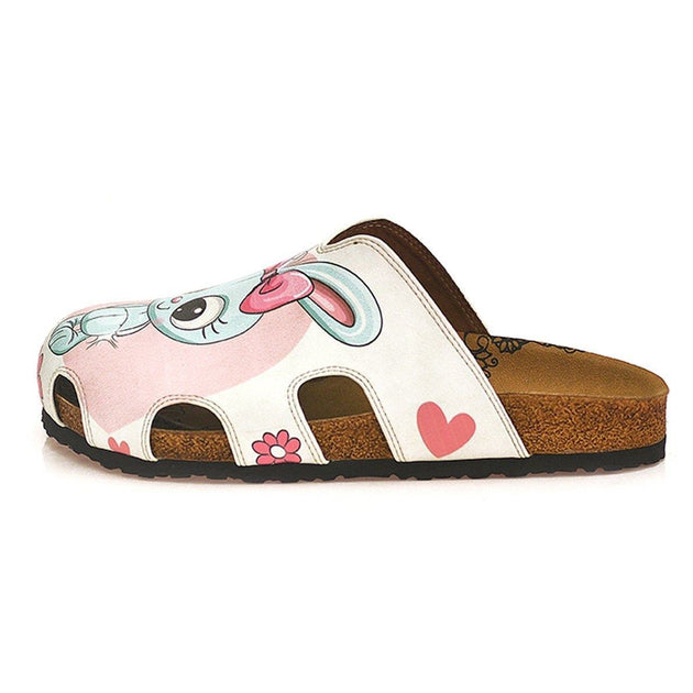 CALCEO Pink and White Colored Flowers and Grey Cute Bunny Patterned Clogs - WCAL601 Clogs Shoes - Goby Shoes UK