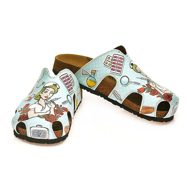 CALCEO Blue and Red Colored Rose Patterned and Nurse Girl Patterned Clogs - WCAL603 Women Clogs Shoes - Goby Shoes UK