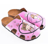 CALCEO Pink Colored and Love Forever Written Patterned Cute Child Patterned Clogs - WCAL604 Clogs Shoes - Goby Shoes UK