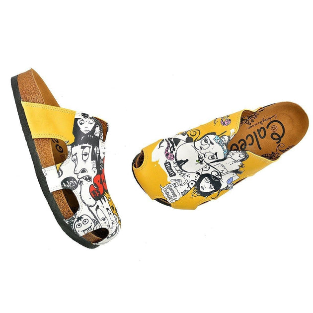 Yellow Colored and Black and White Patterned Clogs - WCAL606