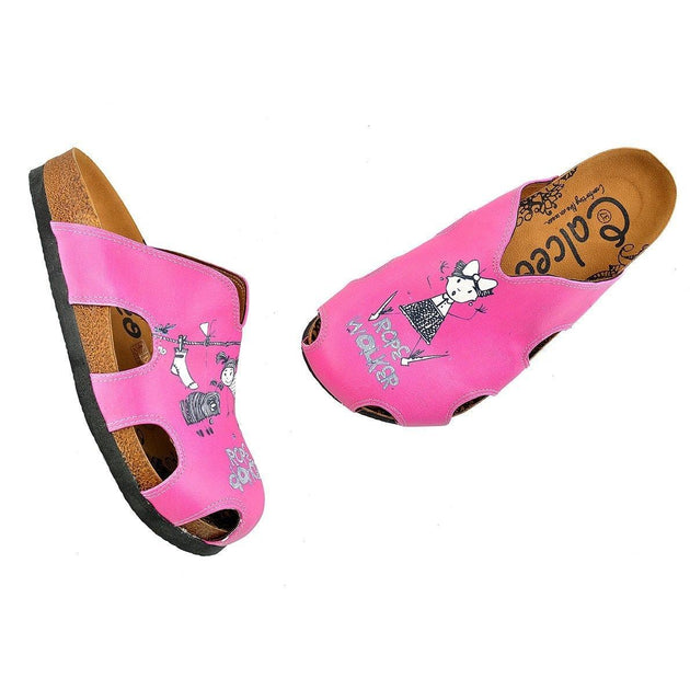 CALCEO Pink Colored and Rope Dancer Written Black and White Colored Play Dancing Girl Patterned Clogs - WCAL607 Clogs Shoes - Goby Shoes UK