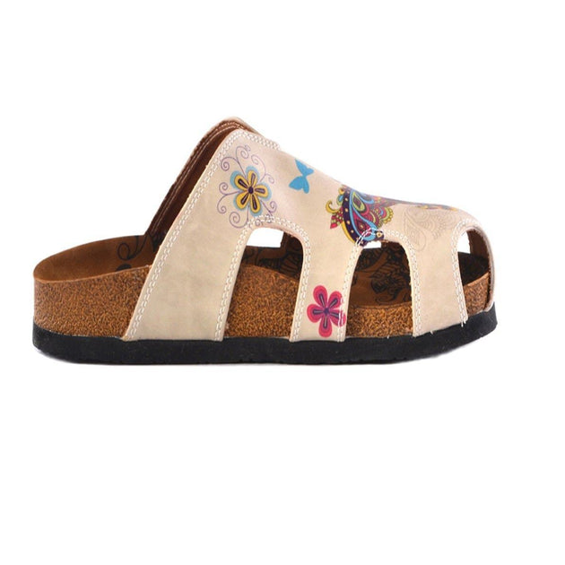 CALCEO Cream Colored and Butterfly and Bird Patterned Clogs - CAL608 Women Clogs Shoes - Goby Shoes UK