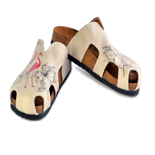 CALCEO Purple Butterflied and Red Flamingo Patterned Clogs - CAL609 Clogs Shoes - Goby Shoes UK