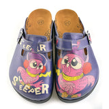 CALCEO Dark Blue, Purple Owl, Sleeper Patterned Clogs - CAL702 Women Clogs Shoes - Goby Shoes UK