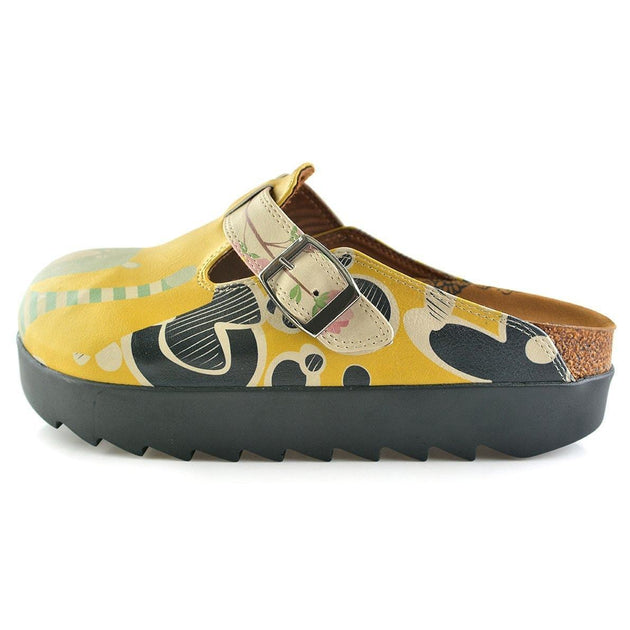 Yellow Colored, Green Owl and Crazy Bear and Colored Flowers Patterned Clogs - CAL705