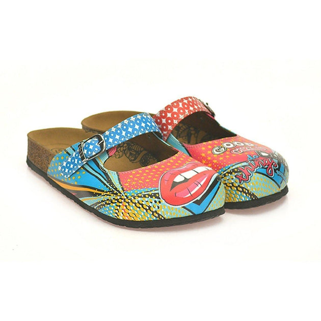CALCEO Blue and Red Retro Pattern, Good Girls do Bad Things, Patterned Clogs - CAL801 Women Clogs Shoes - Goby Shoes UK
