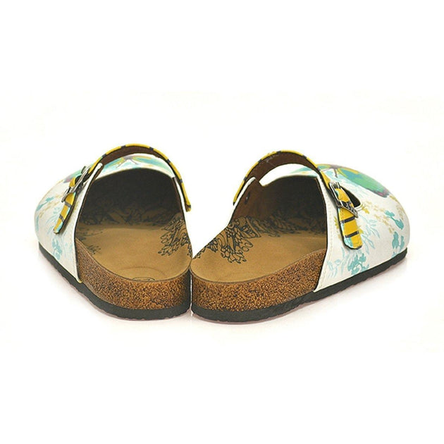CALCEO Black and Yellow Striped, Green and Pink Butterflied, Flowers Patterned Clogs - CAL802 Women Clogs Shoes - Goby Shoes UK
