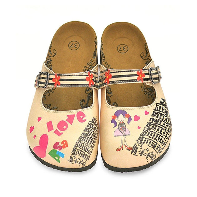 CALCEO Black, Beige Strip Flowers Pattern, Pisa Tower Patterned Clogs - CAL803 Women Clogs Shoes - Goby Shoes UK