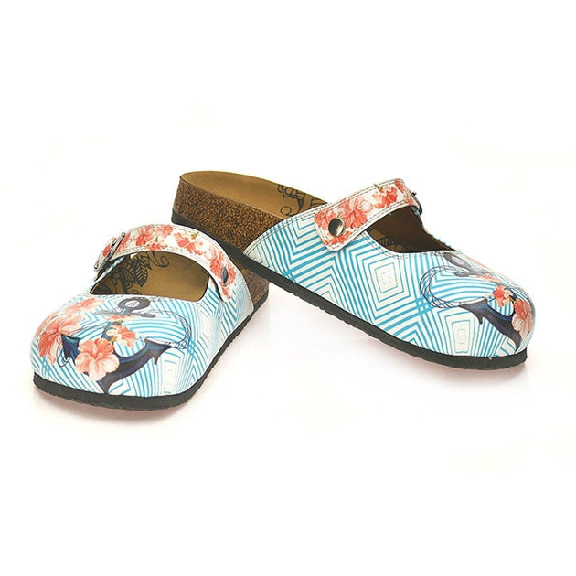 CALCEO Red Flowered Patterned and Coral Color Squared and Blue Anchor Patterned Clogs - CAL804 Clogs Shoes - Goby Shoes UK