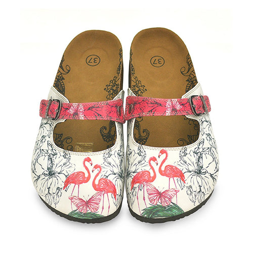 Calceo CAL806 White & Pink Flamingo Clogs Clogs Shoes - Goby Shoes UK