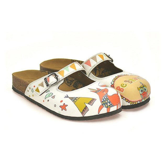 CALCEO Colored Triangulated and Green Tent, Red Fox, Owl Pattern be Brave Written Patterned Clogs - CAL807 Women Clogs Shoes - Goby Shoes UK