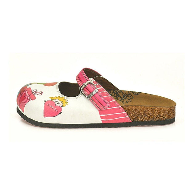 CALCEO Pink Colored, Sweet Children and I Love You Written Patterned Logs Clogs - CAL808 Clogs Shoes - Goby Shoes UK