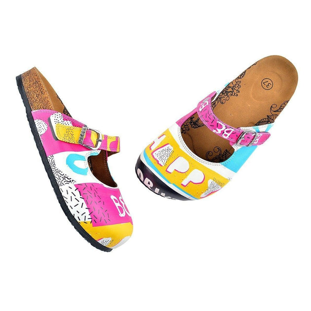 CALCEO Pink, Blue, Yellow Colored Striped Pattern and be Happy Written Patterned Clogs - CAL809 Clogs Shoes - Goby Shoes UK