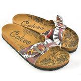 CALCEO Claret Red Colored Piano Patterned Sandal - CAL901 Women Sandal Shoes - Goby Shoes UK