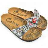 CALCEO Black and White Striped Patterned, Lips and Sunshine Patterned Sandal - CAL902 Women Sandal Shoes - Goby Shoes UK