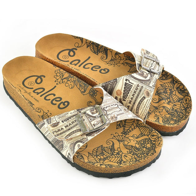 CALCEO Beige and Black Newspaper Patterned Sandal - CAL905 Women Sandal Shoes - Goby Shoes UK