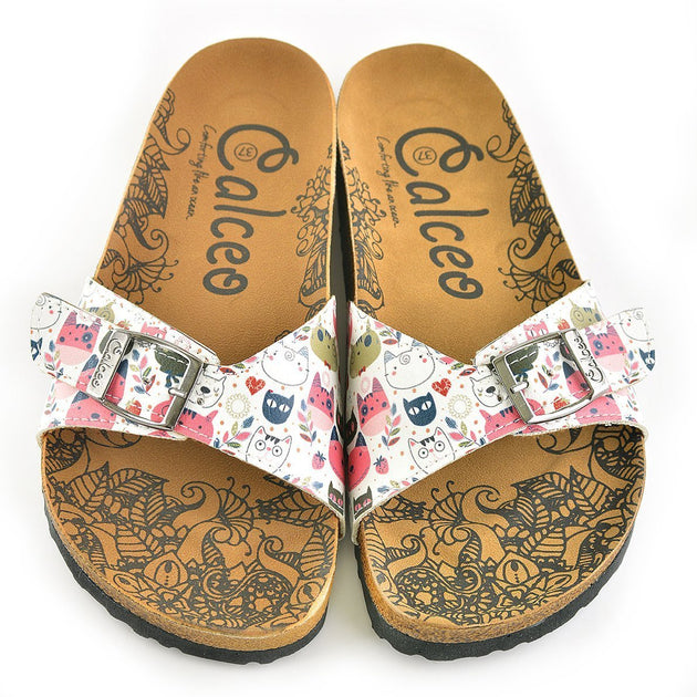 CALCEO Colored Flowers and Cats Patterned Sandal - CAL906 Women Sandal Shoes - Goby Shoes UK
