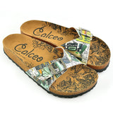 CALCEO Black, Yellow, Green Shaped Abstract Patterned Sandal - CAL907 Women Sandal Shoes - Goby Shoes UK
