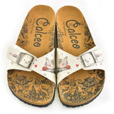 CALCEO Cream and Grey Colored Sweet Playing Cat Patterned Sandal - CAL909 Women Sandal Shoes - Goby Shoes UK