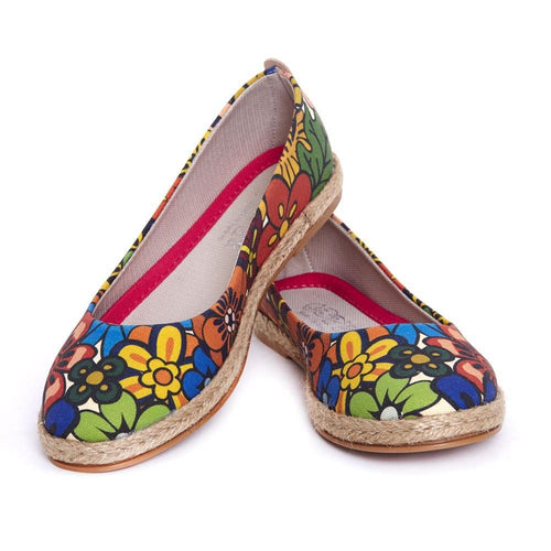 GOBY Flowers Ballerinas Shoes FBR1194 Women Ballerinas Shoes - Goby Shoes UK