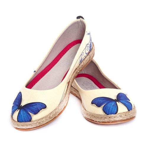 GOBY Blue Butterfly Ballerinas Shoes FBR1198 Women Ballerinas Shoes - Goby Shoes UK