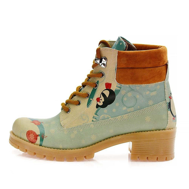 GOBY Happy Penguins Short Boots KAT102 Women Short Boots Shoes - Goby Shoes UK
