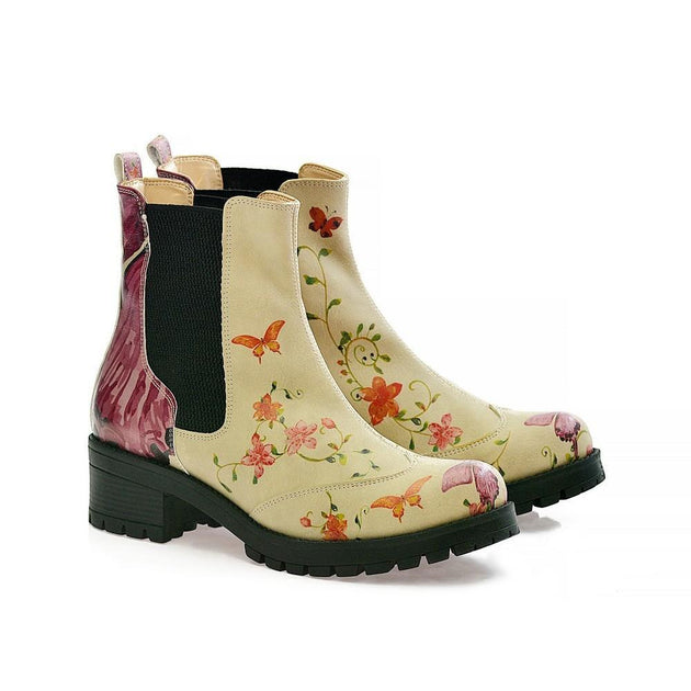 GOBY Flowers Short Boots LAS103 Women Short Boots Shoes - Goby Shoes UK