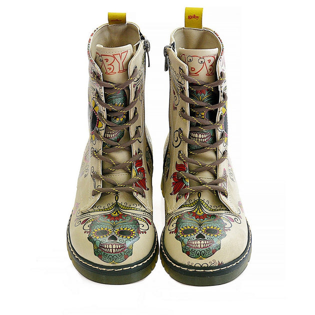 Goby MRT111 Crazy Skull Long Boots Women Boots Shoes - Goby Shoes UK