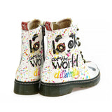 Look at the World From Different Bevel Long Boots NMAR113