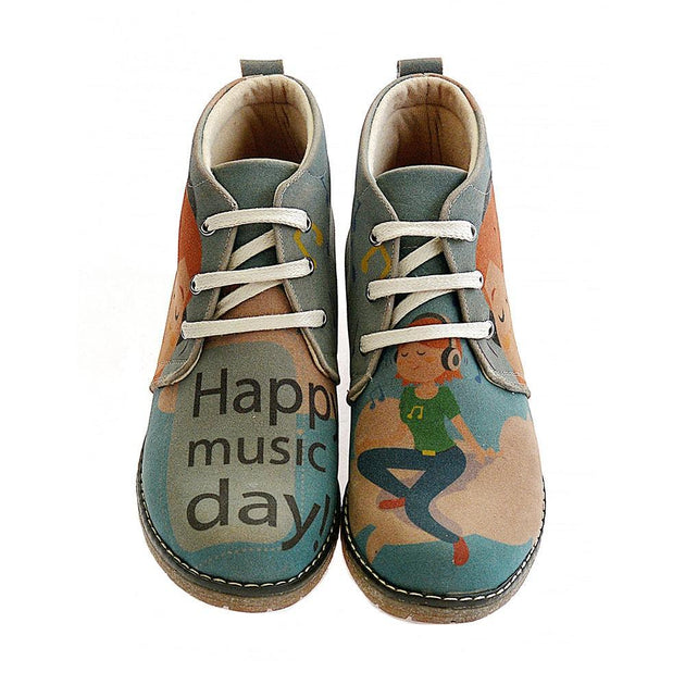 GOBY Happy Music Day Ankle Boots PH115 Women Ankle Boots Shoes - Goby Shoes UK