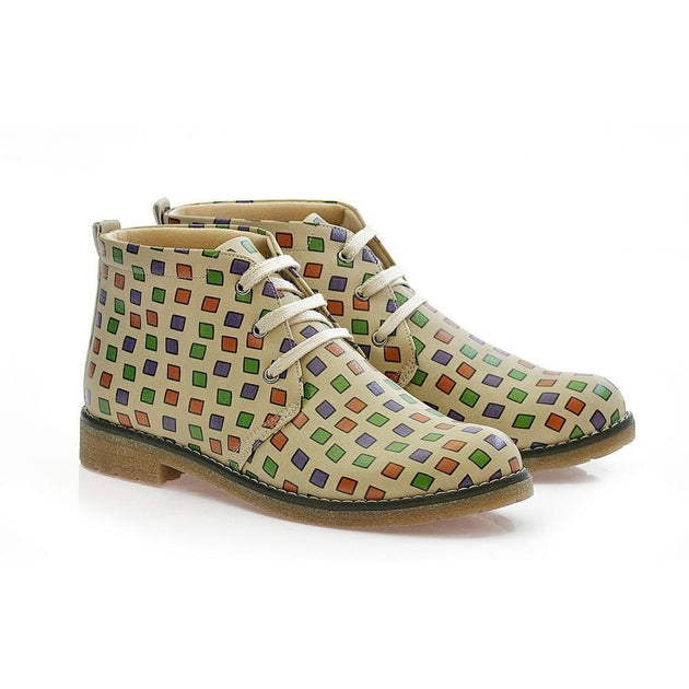 GOBY Colored Squares Ankle Boots PH202 Women Ankle Boots Shoes - Goby Shoes UK