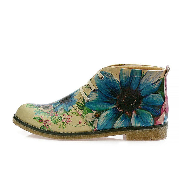 GOBY Flowers Ankle Boots PH209 Women Ankle Boots Shoes - Goby Shoes UK