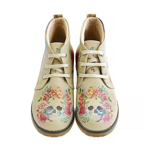 GOBY Flowers and Skull Ankle Boots PH210 Women Ankle Boots Shoes - Goby Shoes UK