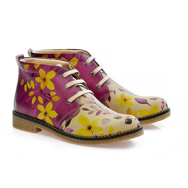 GOBY Autumn Flowers Ankle Boots PH215 Women Ankle Boots Shoes - Goby Shoes UK