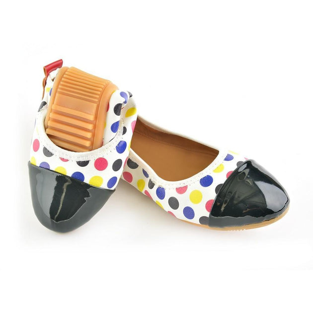 Colored Dots Ballerinas Shoes RAS1611, Goby, RASPBERRY Ballerinas Shoes