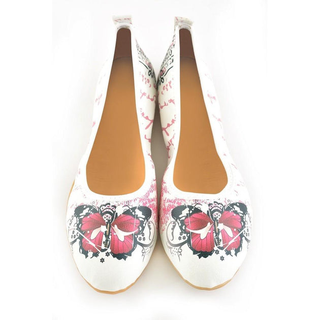 Butterfly Ballerinas Shoes RSP107, Goby, RASPBERRY Ballerinas Shoes