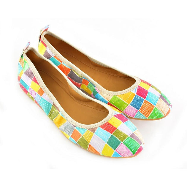 Colored Squares Ballerinas Shoes RSP308, Goby, RASPBERRY Ballerinas Shoes