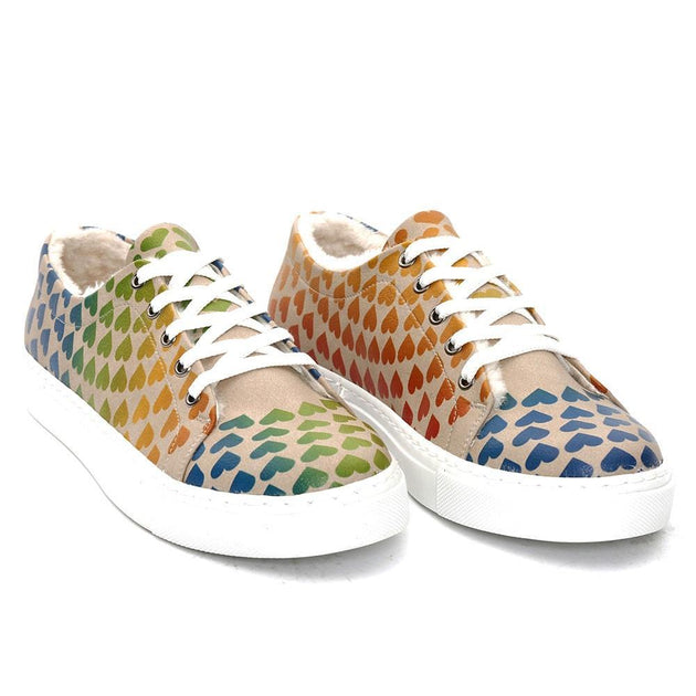 GOBY Hearts Slip on Sneakers Shoes SPR103 Women Sneakers Shoes - Goby Shoes UK
