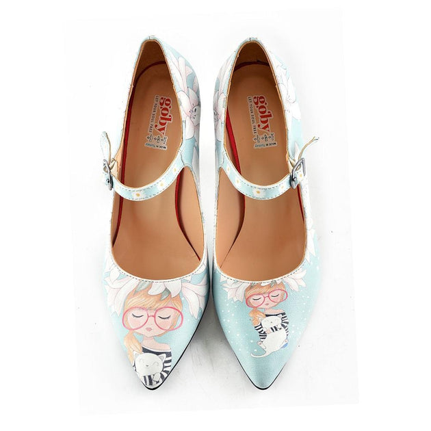 Girl With Glasses Heel Shoes STK101